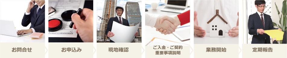 お問合せ→お申込み→現地確認→ご入金・ご契約・重要事項説明→業務開始→定期報告